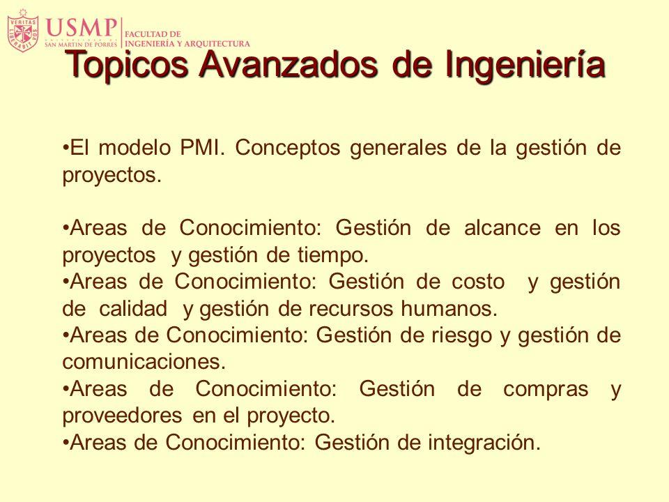El modelo PMI. Conceptos generales de la gestión de proyectos. Areas de Conocimiento: Gestión de alcance en los proyectos y gestión de tiempo. Areas d
