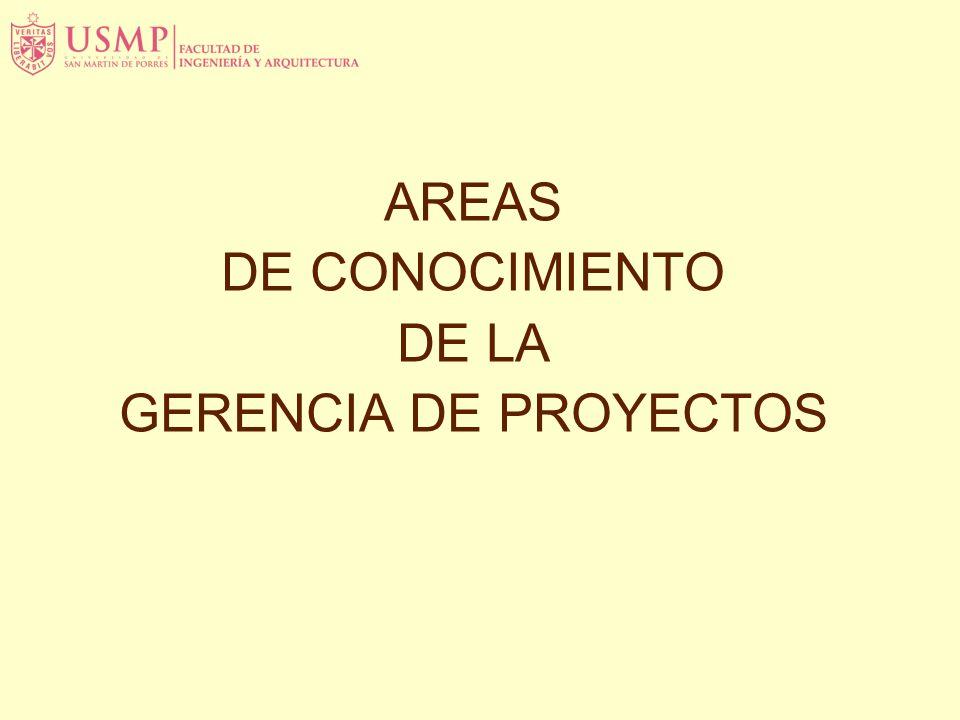AREAS DE CONOCIMIENTO DE LA GERENCIA DE PROYECTOS