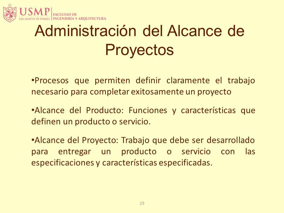 29 Administración del Alcance de Proyectos Procesos que permiten definir claramente el trabajo necesario para completar exitosamente un proyecto Alcan