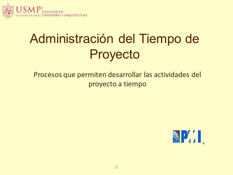 31 Administración del Tiempo de Proyecto ® Procesos que permiten desarrollar las actividades del proyecto a tiempo