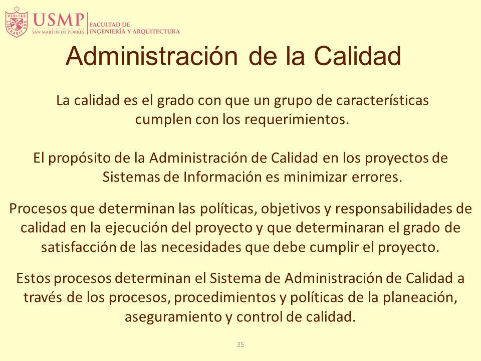 35 Administración de la Calidad La calidad es el grado con que un grupo de características cumplen con los requerimientos. El propósito de la Administ