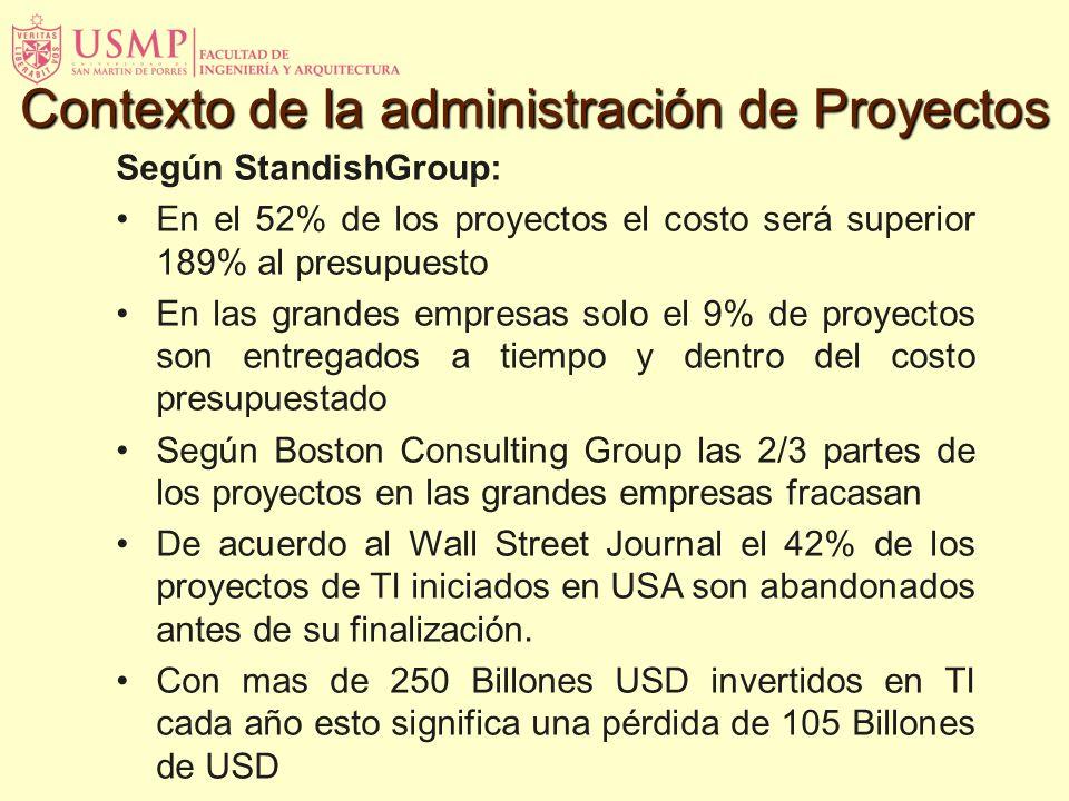 Según StandishGroup: En el 52% de los proyectos el costo será superior 189% al presupuesto En las grandes empresas solo el 9% de proyectos son entrega