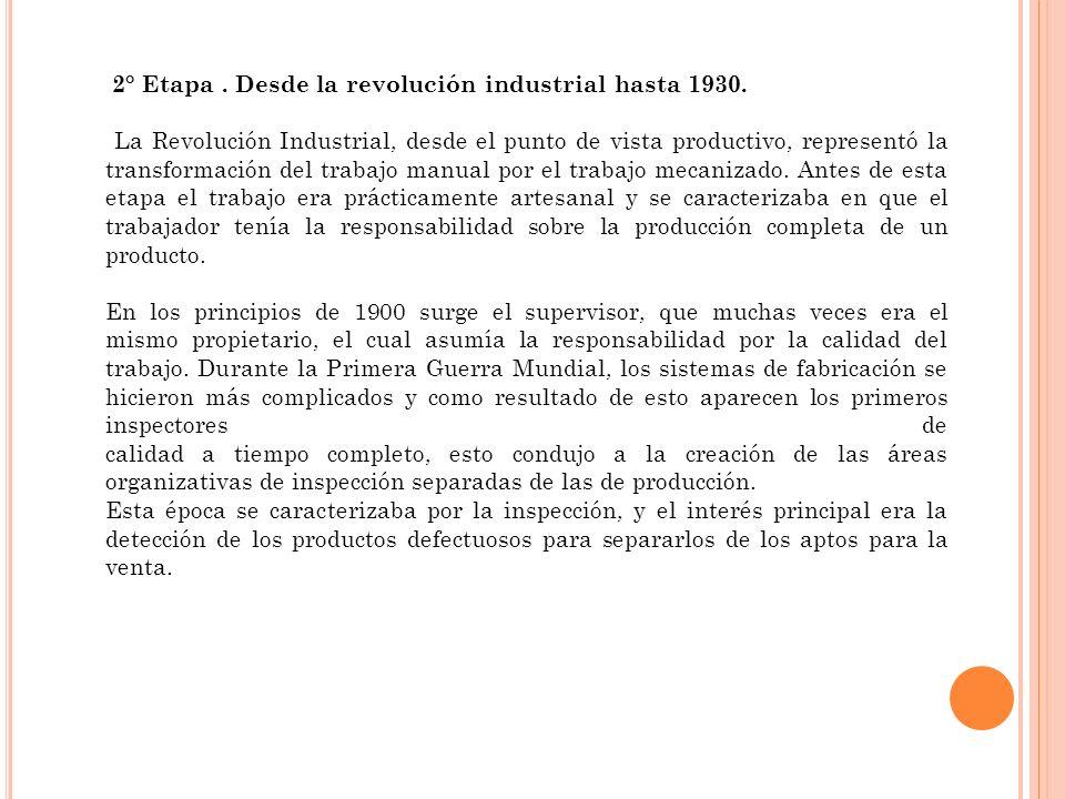 2° Etapa. Desde la revolución industrial hasta 1930. La Revolución Industrial, desde el punto de vista productivo, representó la transformación del tr