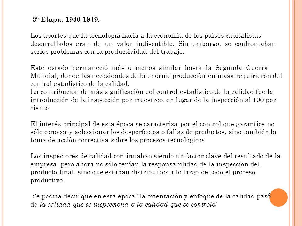 3° Etapa. 1930-1949. Los aportes que la tecnología hacía a la economía de los países capitalistas desarrollados eran de un valor indiscutible. Sin emb
