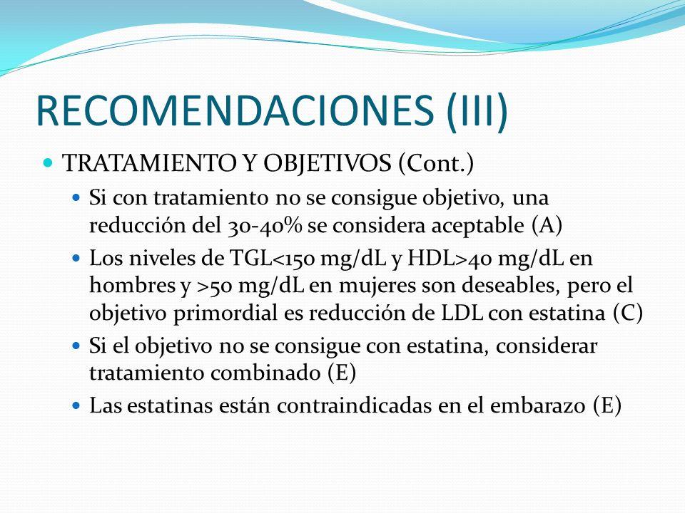 RECOMENDACIONES (III) TRATAMIENTO Y OBJETIVOS (Cont.) Si con tratamiento no se consigue objetivo, una reducción del 30-40% se considera aceptable (A)