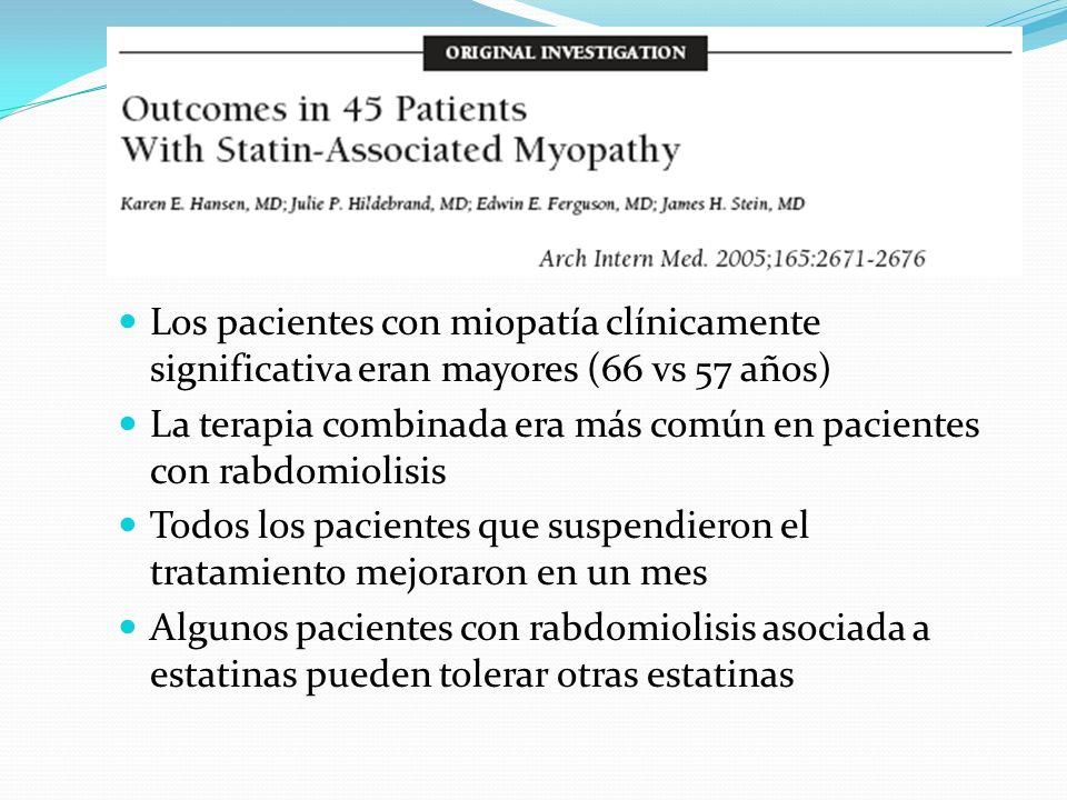Los pacientes con miopatía clínicamente significativa eran mayores (66 vs 57 años) La terapia combinada era más común en pacientes con rabdomiolisis T