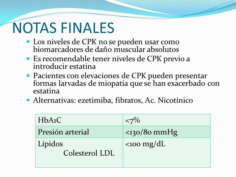 NOTAS FINALES Los niveles de CPK no se pueden usar como biomarcadores de daño muscular absolutos Es recomendable tener niveles de CPK previo a introdu