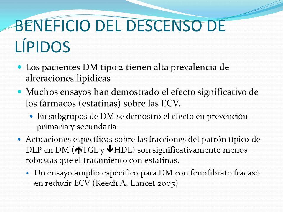 BENEFICIO DEL DESCENSO DE LÍPIDOS Los pacientes DM tipo 2 tienen alta prevalencia de alteraciones lipídicas Muchos ensayos han demostrado el efecto si
