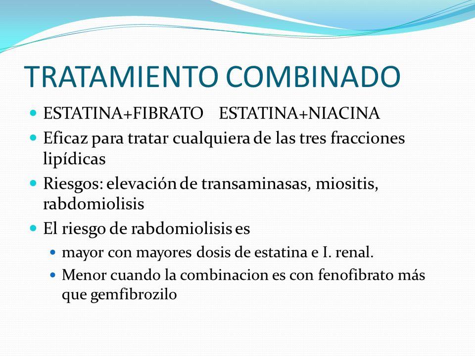 TRATAMIENTO COMBINADO ESTATINA+FIBRATOESTATINA+NIACINA Eficaz para tratar cualquiera de las tres fracciones lipídicas Riesgos: elevación de transamina