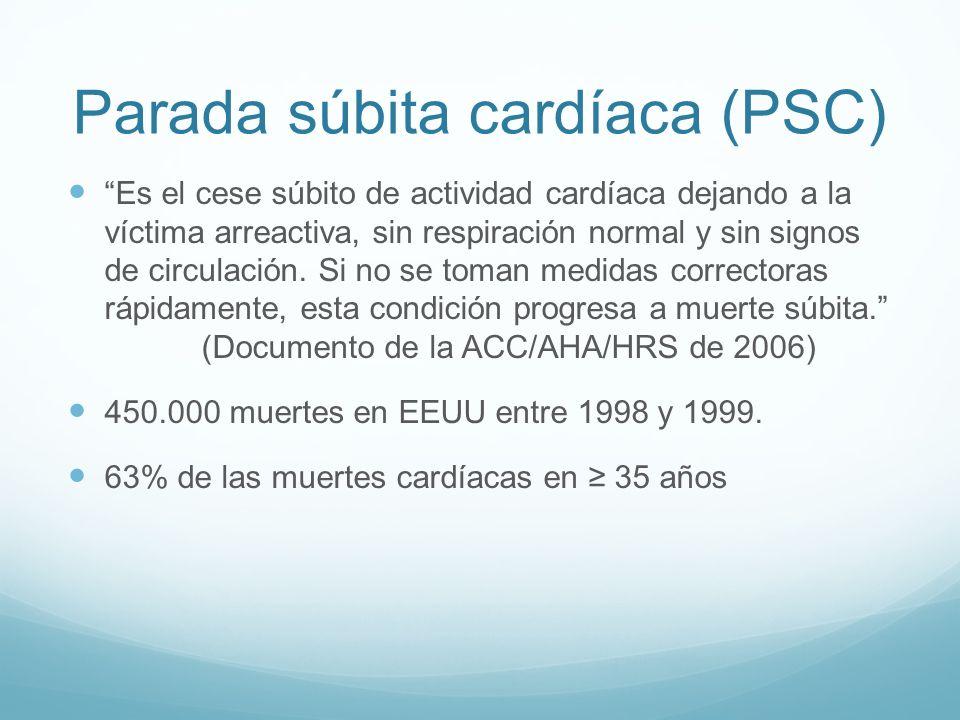 Parada súbita cardíaca (PSC) Es el cese súbito de actividad cardíaca dejando a la víctima arreactiva, sin respiración normal y sin signos de circulaci