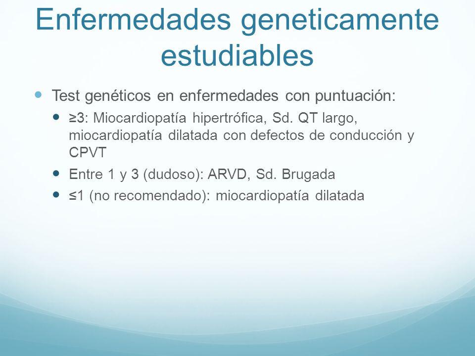 Enfermedades geneticamente estudiables Test genéticos en enfermedades con puntuación: 3: Miocardiopatía hipertrófica, Sd. QT largo, miocardiopatía dil