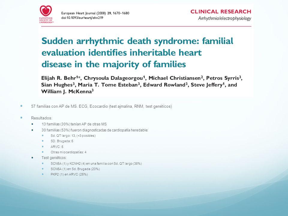 57 familias con AP de MS. ECG, Ecocardio (test ajmalina, RNM, test genéticos) Resultados: 13 familias (30%) tenían AP de otras MS 30 familias (53%) fu