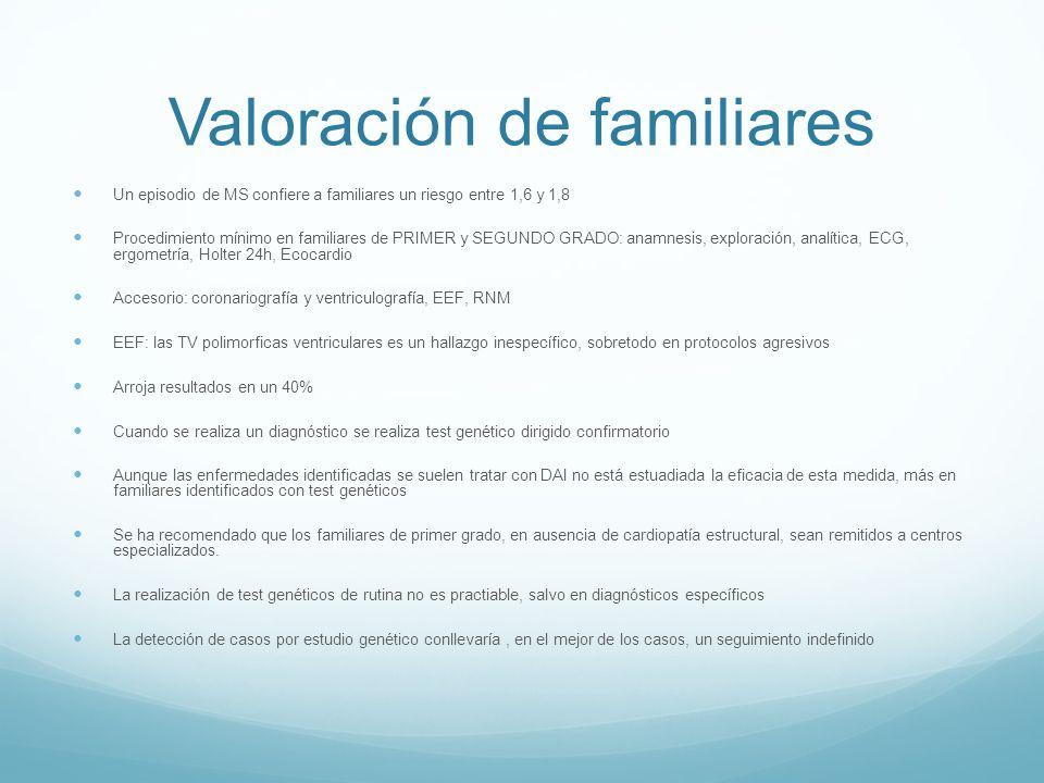 Valoración de familiares Un episodio de MS confiere a familiares un riesgo entre 1,6 y 1,8 Procedimiento mínimo en familiares de PRIMER y SEGUNDO GRAD