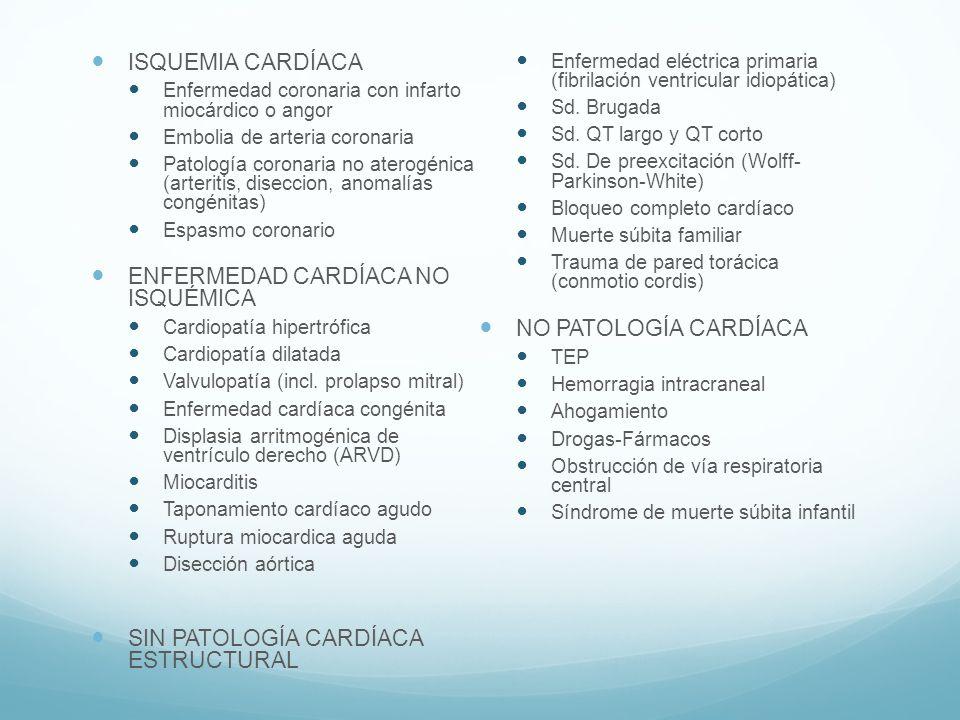 ISQUEMIA CARDÍACA Enfermedad coronaria con infarto miocárdico o angor Embolia de arteria coronaria Patología coronaria no aterogénica (arteritis, dise