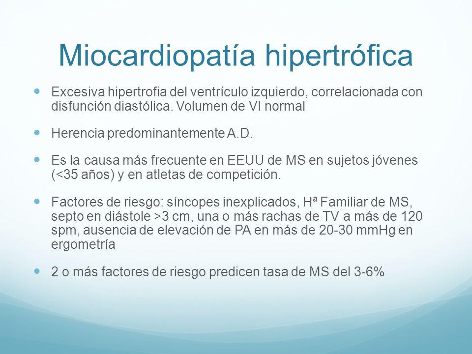 Miocardiopatía hipertrófica Excesiva hipertrofia del ventrículo izquierdo, correlacionada con disfunción diastólica. Volumen de VI normal Herencia pre