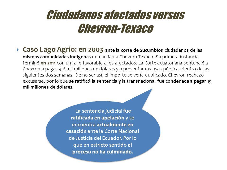 Ciudadanos afectados versus Chevron-Texaco Caso Lago Agrio: en 2003 ante la corte de Sucumbíos ciudadanos de las mismas comunidades indígenas demandan