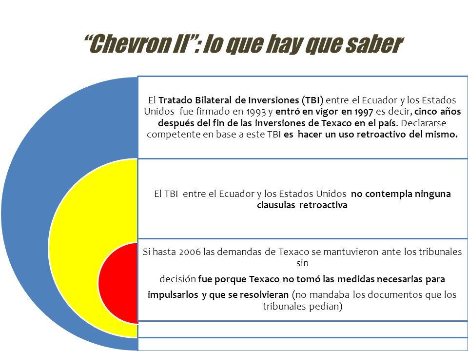 Chevron II: lo que hay que saber El Tratado Bilateral de Inversiones (TBI) entre el Ecuador y los Estados Unidos fue firmado en 1993 y entró en vigor