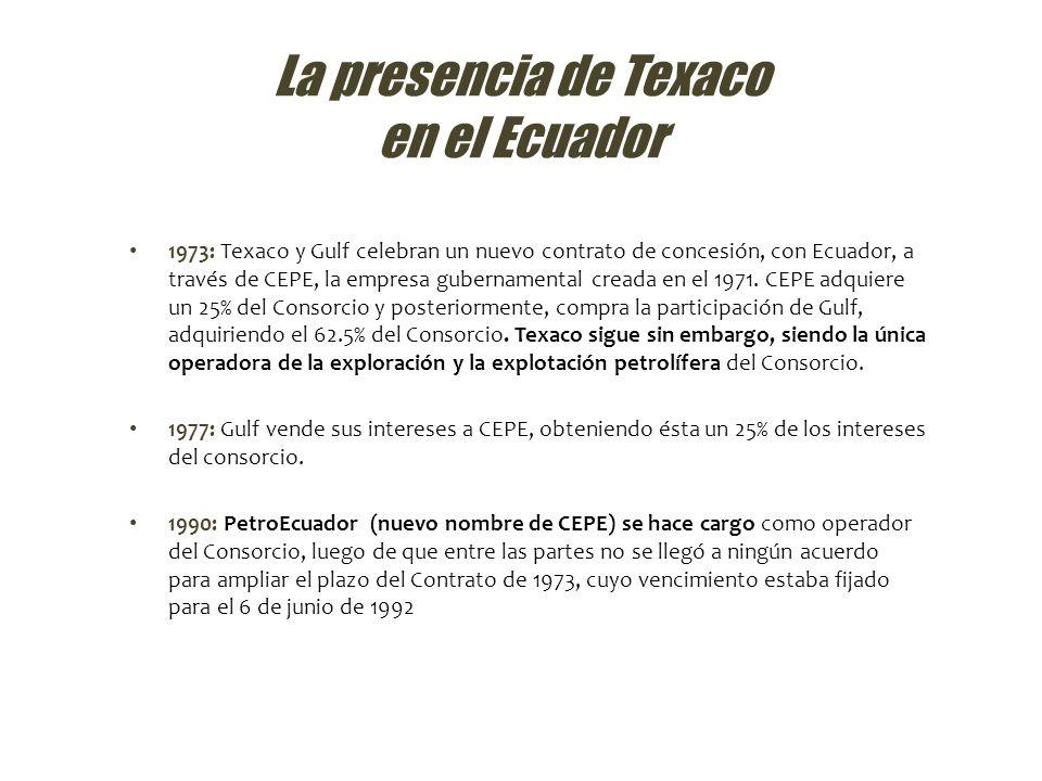 Lo que hay que saber sobre la presencia de Texaco 6 El artículo 46 del contrato de explotación firmado por la Texaco y la empresa estatal de petróleos del Ecuador estipulaba claramente, que la transnacional se comprometía a utilizar tecnologías con sistemas de reinyección segura de los desechos tóxicos en el subsuelo A pesar de esto, si bien patentó y utilizó tecnologías que cumplieran con estos requisitos en los Estados Unidos, nunca las utilizó en el Ecuador.