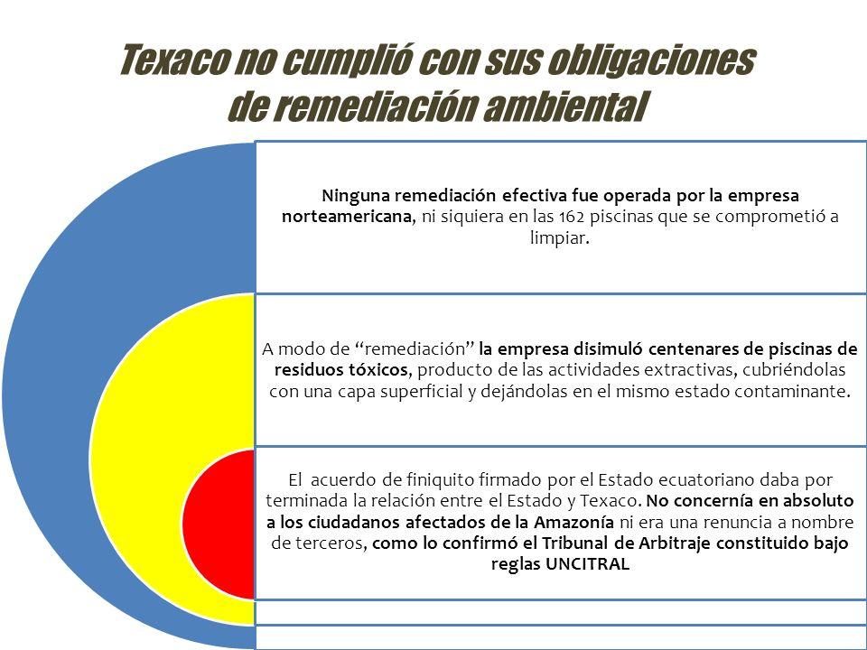 Texaco no cumplió con sus obligaciones de remediación ambiental Ninguna remediación efectiva fue operada por la empresa norteamericana, ni siquiera en