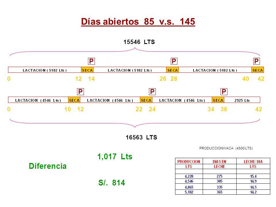 Días abiertos 85 v.s. 145 PPP PPP 0121022 4228141204026 42363424 15546 LTS 16563 LTS 1,017 Lts Diferencia S/. 814 PRODUCCION/VACA (4500 LTS)