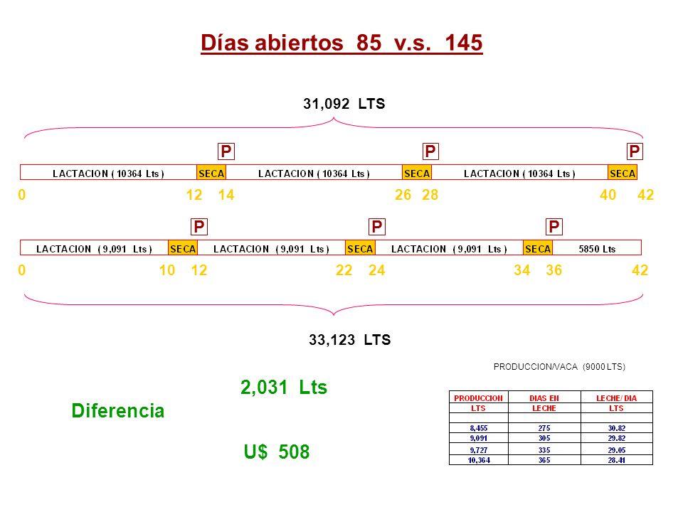 Días abiertos 85 v.s. 145 PPP PPP 0121022 4228141204026 42363424 31,092 LTS 33,123 LTS 2,031 Lts Diferencia U$ 508 PRODUCCION/VACA (9000 LTS)