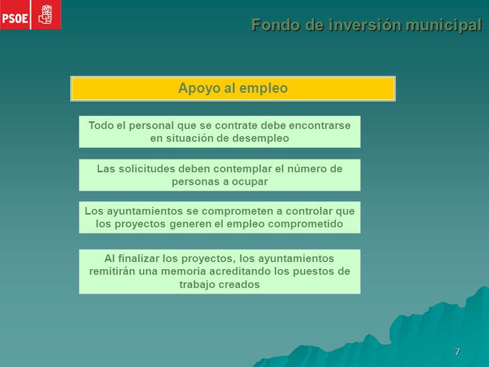 6 Procedimiento Fondo de inversión municipal Solicitudes entre el 10 de diciembre de 2008 y el 20 de enero de 2009 A través de la página web del Ministerio de Administraciones Públicas: www.map.es ¿Qué debe contener la solicitud.