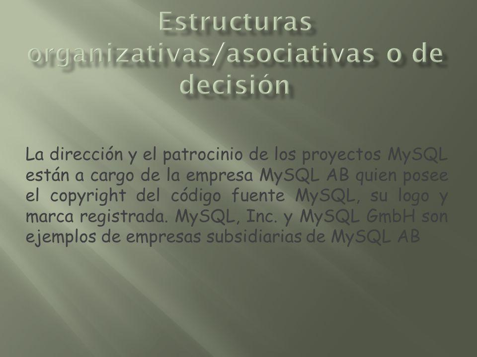 La dirección y el patrocinio de los proyectos MySQL están a cargo de la empresa MySQL AB quien posee el copyright del código fuente MySQL, su logo y m