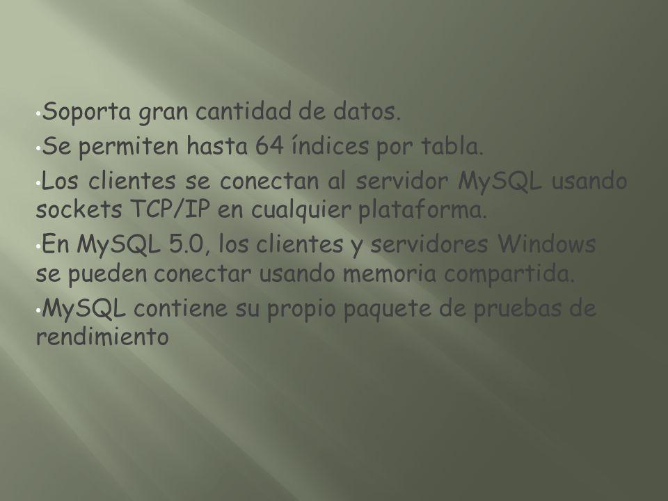 Soporta gran cantidad de datos. Se permiten hasta 64 índices por tabla. Los clientes se conectan al servidor MySQL usando sockets TCP/IP en cualquier