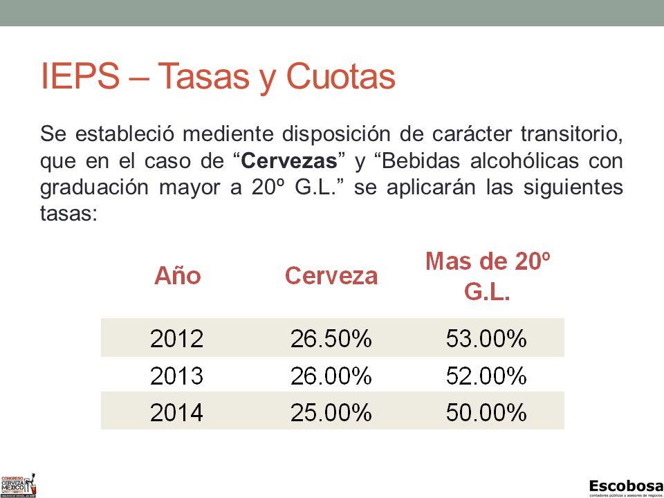 IEPS – Tasas y Cuotas Se estableció mediente disposición de carácter transitorio, que en el caso de Cervezas y Bebidas alcohólicas con graduación mayor a 20º G.L.