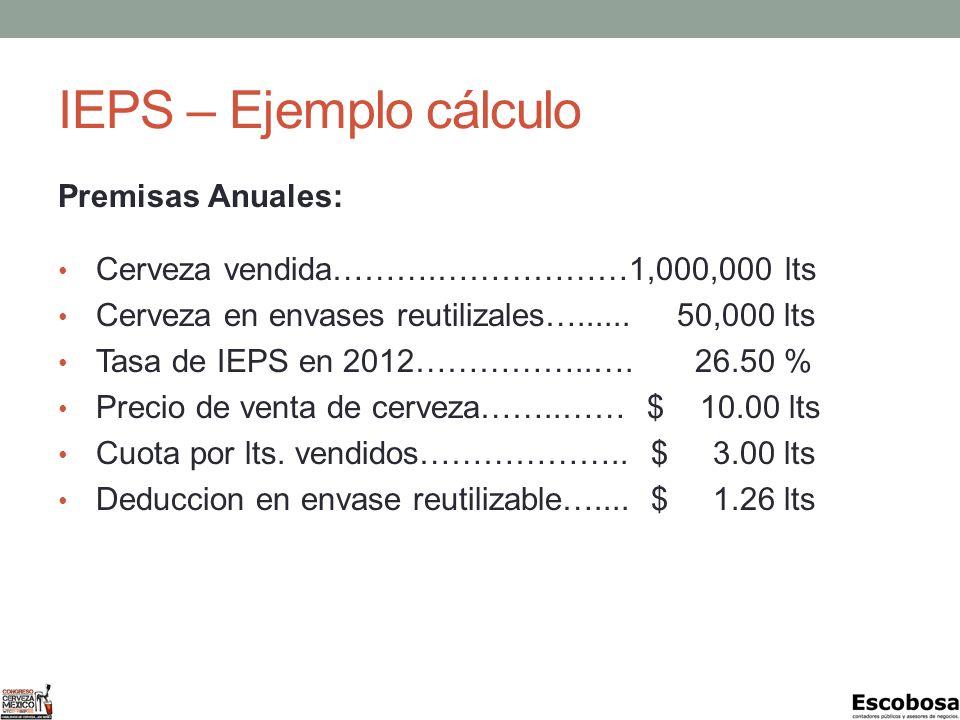 IEPS – Ejemplo cálculo Premisas Anuales: Cerveza vendida……….………………1,000,000 lts Cerveza en envases reutilizales…......