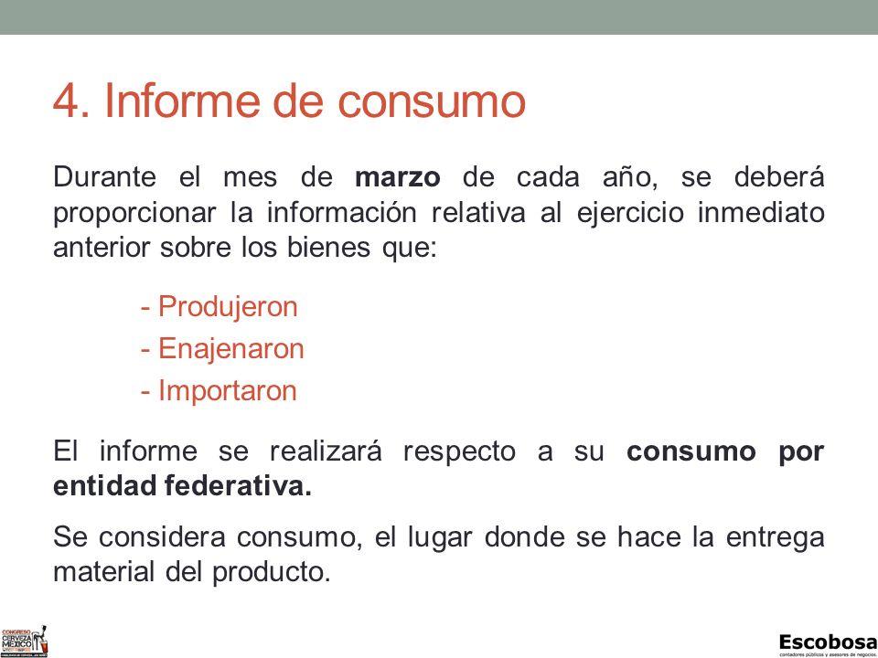 4. Informe de consumo Durante el mes de marzo de cada año, se deberá proporcionar la información relativa al ejercicio inmediato anterior sobre los bi