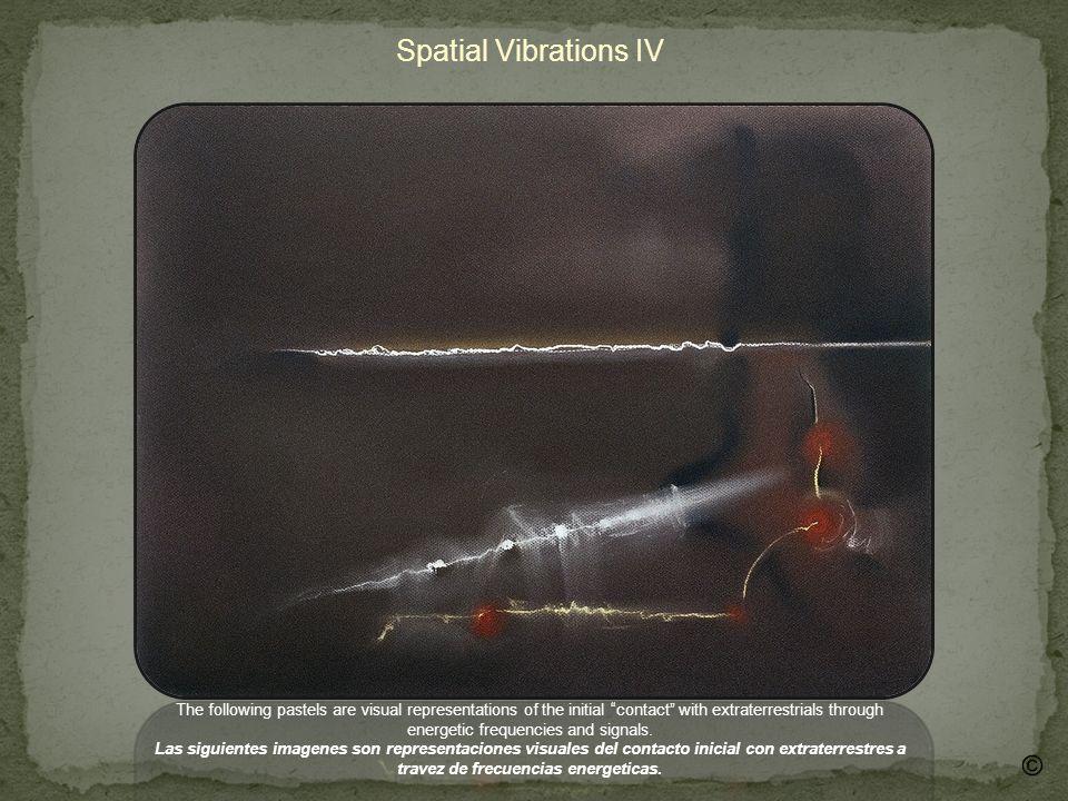 Spatial Vibrations V This piece reveals the emergence of a being together with signals and frequencies Este dibujo revela la imagen de un ser junto con frecuencias y simbolos.