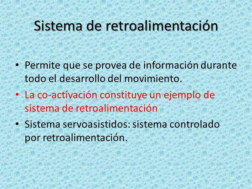 Sistema de retroalimentación Permite que se provea de información durante todo el desarrollo del movimiento. La co-activación constituye un ejemplo de