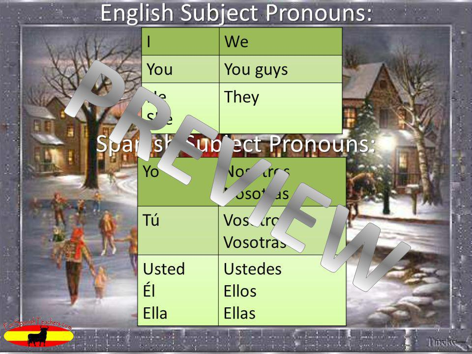English Subject Pronouns: Spanish Subject Pronouns: