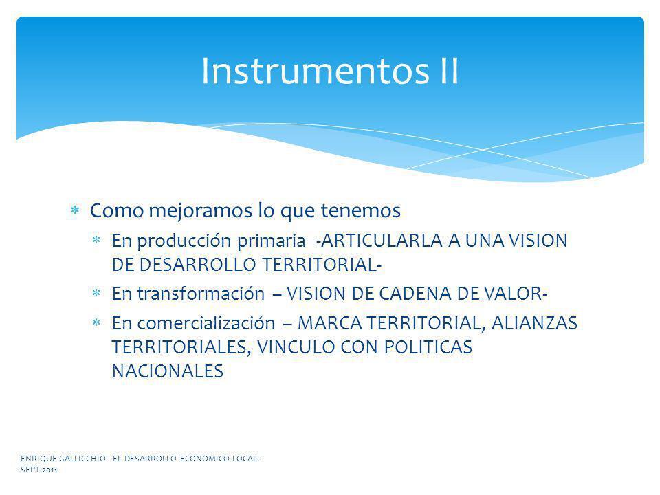 Como mejoramos lo que tenemos En producción primaria -ARTICULARLA A UNA VISION DE DESARROLLO TERRITORIAL- En transformación – VISION DE CADENA DE VALO