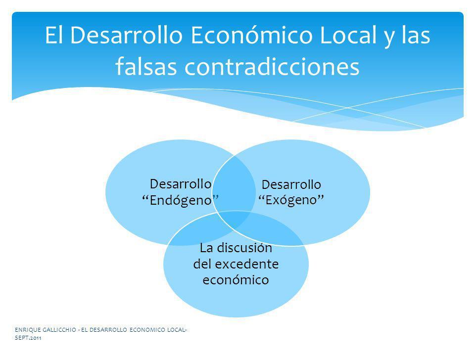 Desarrollo Endógeno La discusión del excedente económico Desarrollo Exógeno El Desarrollo Económico Local y las falsas contradicciones ENRIQUE GALLICC