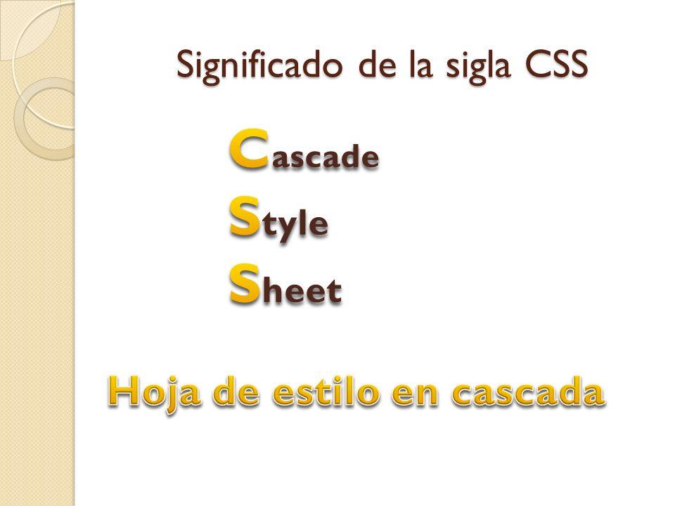 Significado de la sigla CSS