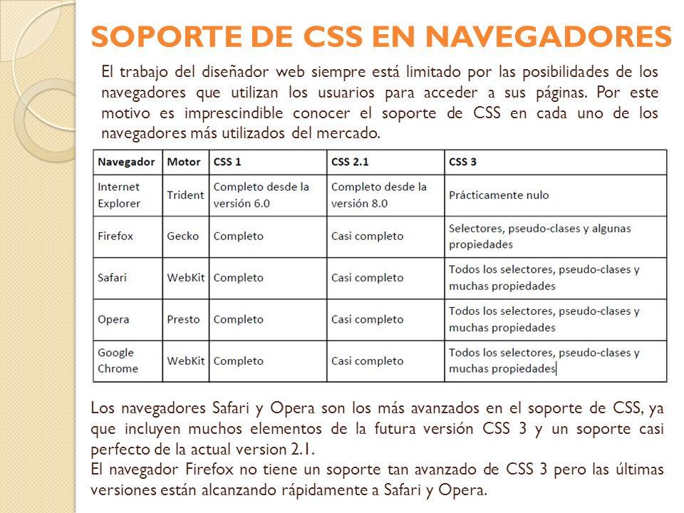 El trabajo del diseñador web siempre está limitado por las posibilidades de los navegadores que utilizan los usuarios para acceder a sus páginas. Por
