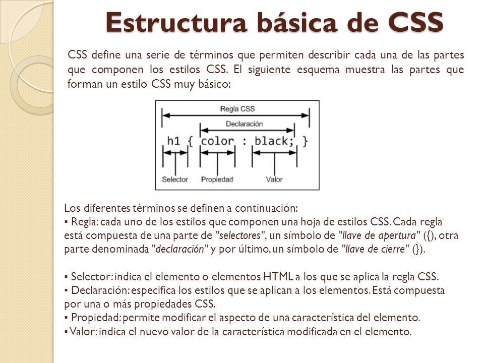 Estructura básica de CSS CSS define una serie de términos que permiten describir cada una de las partes que componen los estilos CSS. El siguiente esq