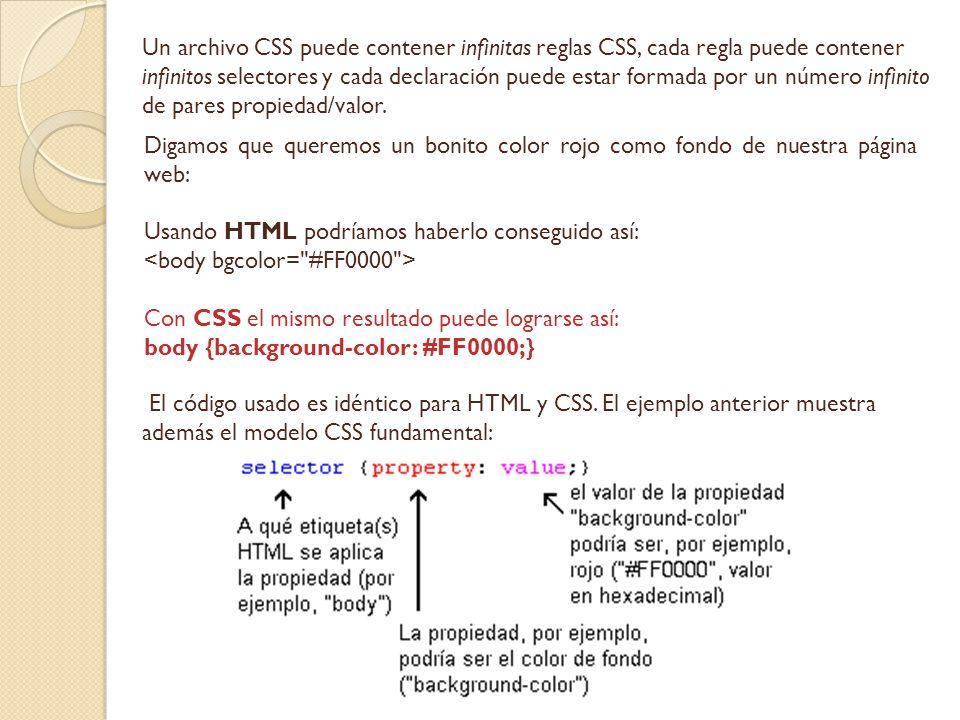 Un archivo CSS puede contener infinitas reglas CSS, cada regla puede contener infinitos selectores y cada declaración puede estar formada por un númer