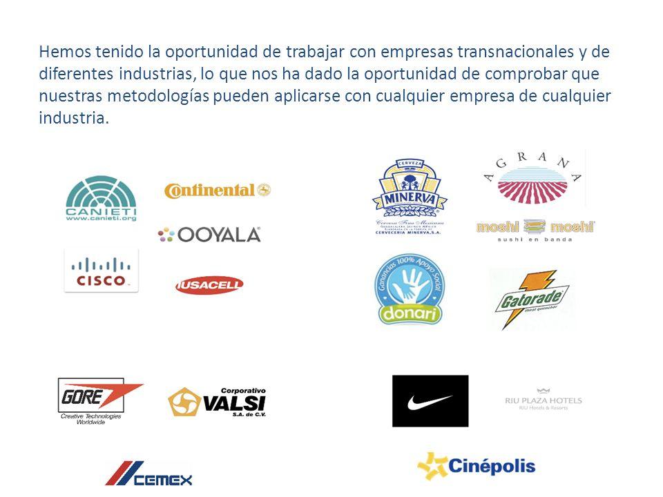 Hemos tenido la oportunidad de trabajar con empresas transnacionales y de diferentes industrias, lo que nos ha dado la oportunidad de comprobar que nuestras metodologías pueden aplicarse con cualquier empresa de cualquier industria.