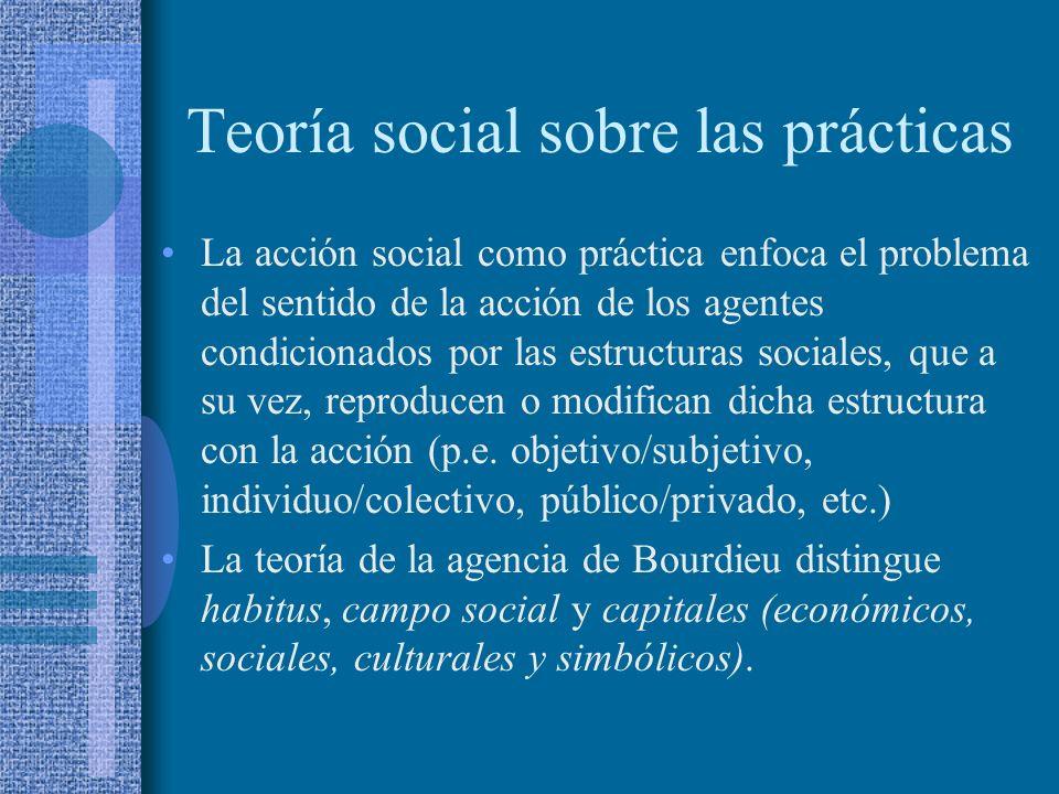 Teoría social sobre las prácticas La acción social como práctica enfoca el problema del sentido de la acción de los agentes condicionados por las estr