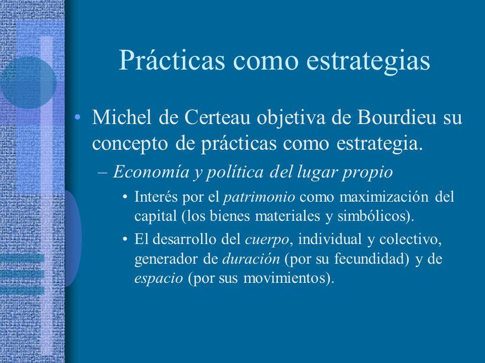 Prácticas como estrategias Michel de Certeau objetiva de Bourdieu su concepto de prácticas como estrategia. –Economía y política del lugar propio Inte