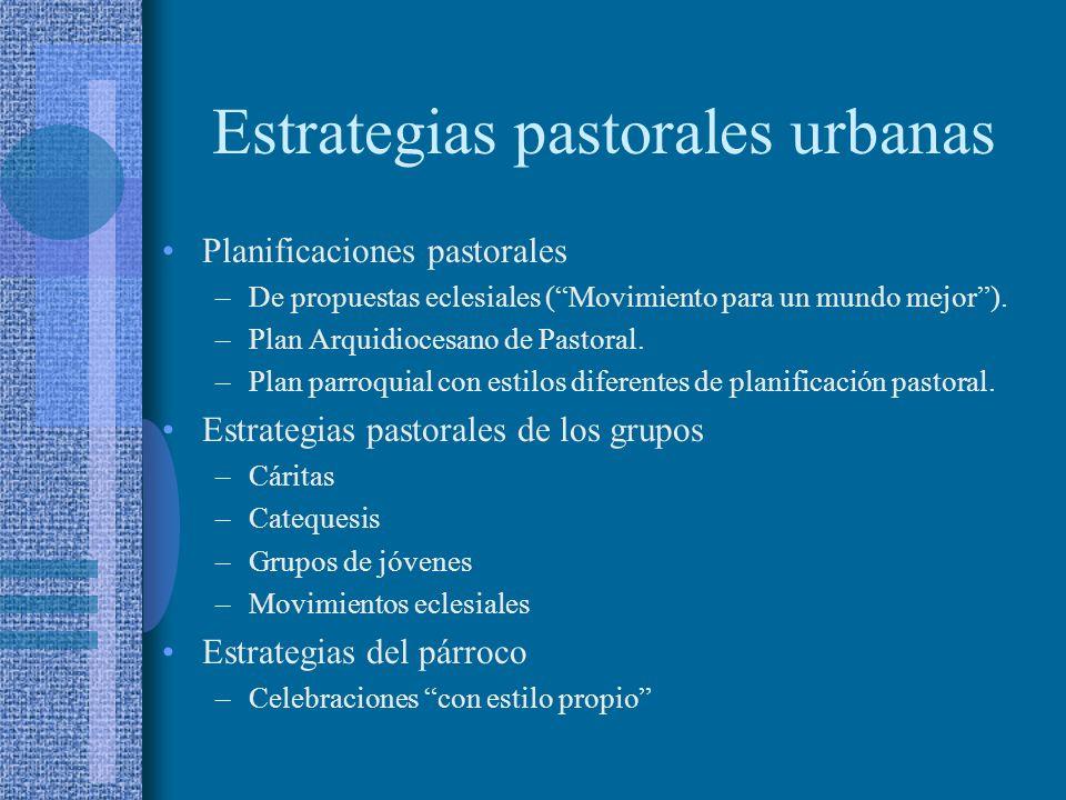 Estrategias pastorales urbanas Planificaciones pastorales –De propuestas eclesiales (Movimiento para un mundo mejor). –Plan Arquidiocesano de Pastoral