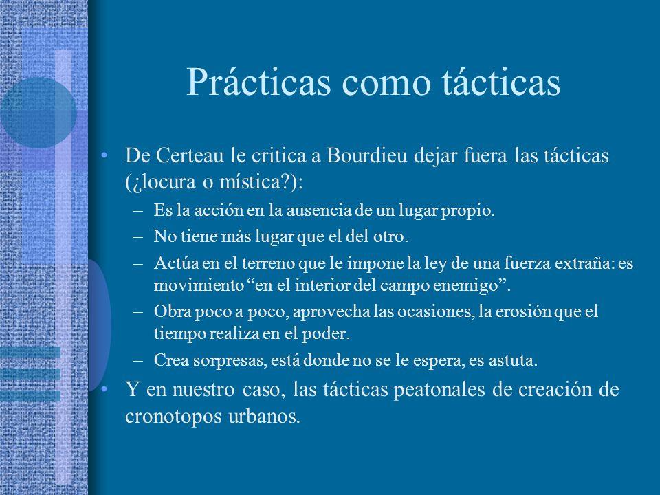 Prácticas como tácticas De Certeau le critica a Bourdieu dejar fuera las tácticas (¿locura o mística?): –Es la acción en la ausencia de un lugar propi