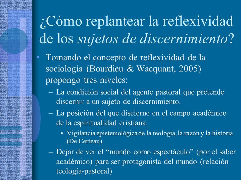 ¿Cómo replantear la reflexividad de los sujetos de discernimiento? Tomando el concepto de reflexividad de la sociología (Bourdieu & Wacquant, 2005) pr