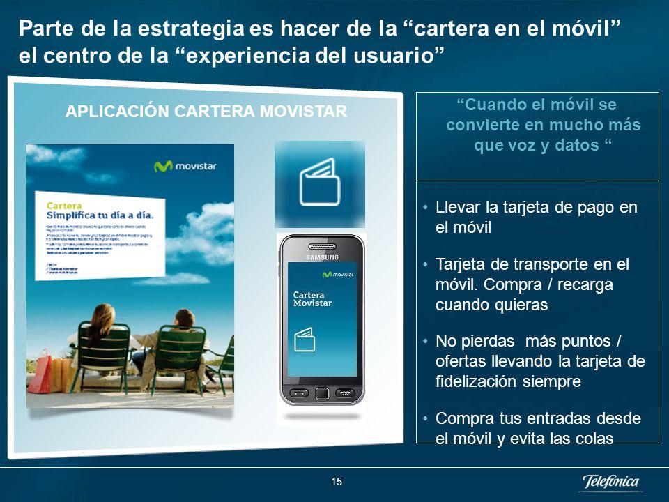 APLICACIÓN CARTERA MOVISTAR Parte de la estrategia es hacer de la cartera en el móvil el centro de la experiencia del usuario Cuando el móvil se convierte en mucho más que voz y datos Llevar la tarjeta de pago en el móvil Tarjeta de transporte en el móvil.