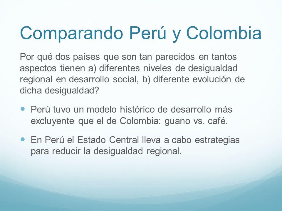 Comparando Perú y Colombia Por qué dos países que son tan parecidos en tantos aspectos tienen a) diferentes niveles de desigualdad regional en desarrollo social, b) diferente evolución de dicha desigualdad.