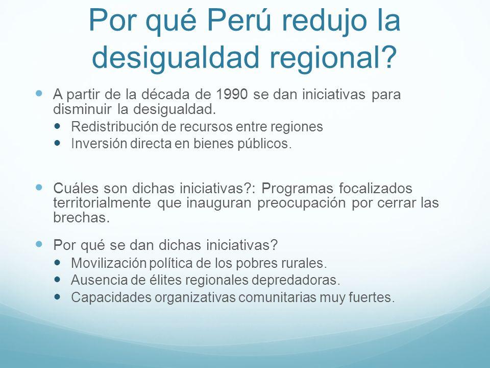 Por qué Perú redujo la desigualdad regional? A partir de la década de 1990 se dan iniciativas para disminuir la desigualdad. Redistribución de recurso