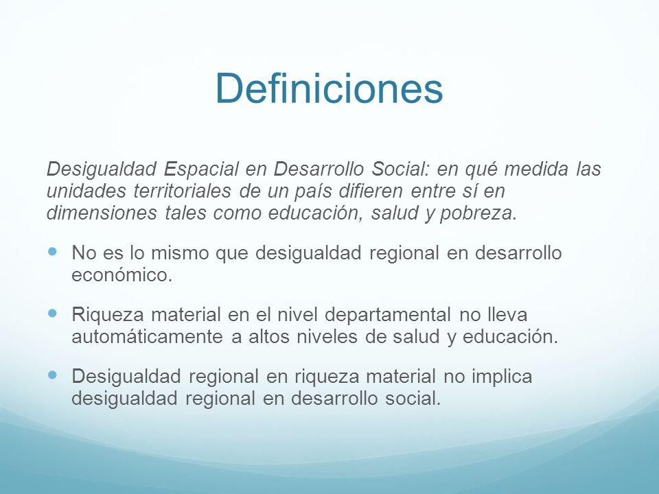 Definiciones Desigualdad Espacial en Desarrollo Social: en qué medida las unidades territoriales de un país difieren entre sí en dimensiones tales como educación, salud y pobreza.